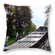 The Chessboard Hill Cascade Fountain On The Grounds Of The Peterhof Palace Throw Pillow