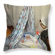 The Cradle - Camille With The Artist's Son Jean Throw Pillow