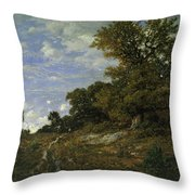 The Edge Of The Woods At Monts-girard, Fontainebleau Forest Throw Pillow