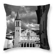 The Facade Of The Duomo With Mosaic And Eight Rose Windows And The Campanile Spoleto Umbria Italy Throw Pillow