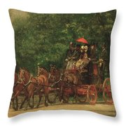 The Fairman Rogers Coach And Four Throw Pillow by Thomas Cowperthwait Eakins