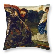 The Fight St George Kills The Dragon  Throw Pillow