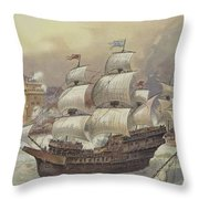 The Fleet Of Jean Ango Blocks The Tagus Throw Pillow