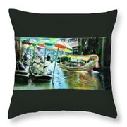 The Floating Market Throw Pillow