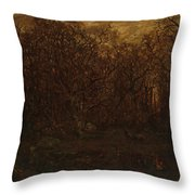 The Forest In Winter At Sunset Throw Pillow