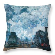 The Gare Saint-lazare Arrival Of A Train Throw Pillow