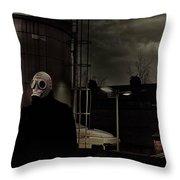 the Gas Mask Man Throw Pillow