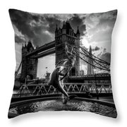 The Girl And The Dolphin - London Throw Pillow