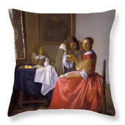 The Girl With A Wineglass Throw Pillow