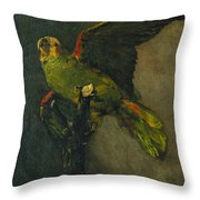 The Green Parrot Throw Pillow