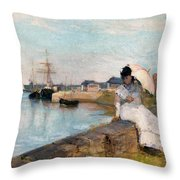 The Harbor At Lorient Throw Pillow