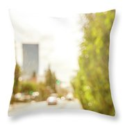 The Hedge By The Sidewalk During Day In The City Of Los Angeles Throw Pillow
