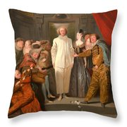 The Italian Comedians Throw Pillow