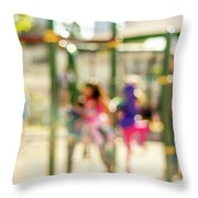 The Kids At The Playground During Day In The City Of Los Angeles Throw Pillow