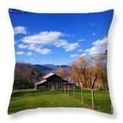 The Log Barn Throw Pillow