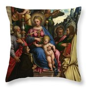 The Madonna And Child With Angels Saints And A Donor Throw Pillow