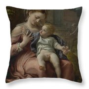 The Madonna Of The Basket Throw Pillow