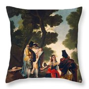 The Maja And The Cloaked Men, Or A Walk Through Andalusia Throw Pillow