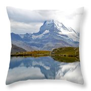 The Matterhorn And Lake Stellisee Throw Pillow