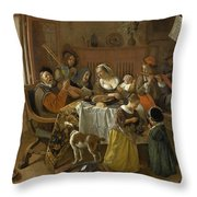 The Merry Family Throw Pillow