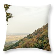 The Mountain View At The Yoro Waterfall In Gifu, Japan, November Throw Pillow