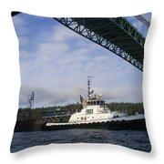 The New Tacoma Narrows Bridge - Foss Tug Throw Pillow