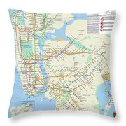 The New York City Pubway Map Throw Pillow