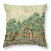 The Olive Orchard, 1889 Throw Pillow