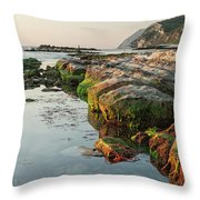 The Passetto Rocks At Sunrise, Ancona, Italy Throw Pillow