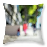 The People Walking On The Street During Day In The City Of Los A Throw Pillow