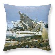 The Polar Sea Throw Pillow by Caspar David Friedrich