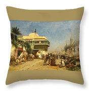 The Port Of Algiers Throw Pillow