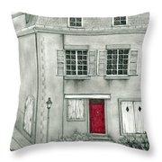 The Red French Door Throw Pillow