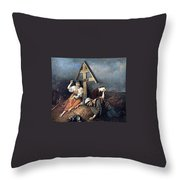 The Scene At The Grave H 1859 58h69 Am Gtg Vasily Perov Throw Pillow