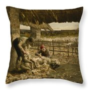 The Sheepshearing Throw Pillow