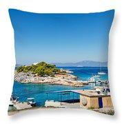 The Small Island Aponisos Near Agistri Island - Greece Throw Pillow