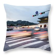 The Streets Of Seoul, South Korea Throw Pillow