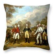 The Surrender Of General Burgoyne Throw Pillow