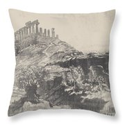 The Temple Of Concord On The Wall, Girgenti Throw Pillow
