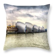 The Thames Barrier London Throw Pillow