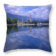 The Three Pagodas Of Dali Throw Pillow