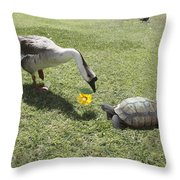 The Turtle And The Goose Throw Pillow