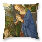 The Virgin Adoring The Child Throw Pillow