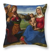 The Virgin And Child Adored By Two Angels Throw Pillow