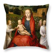 The Virgin And Child Between Two Angels Throw Pillow