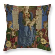 The Virgin And Child Enthroned Throw Pillow