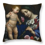The Virgin And Child With Flowers Throw Pillow