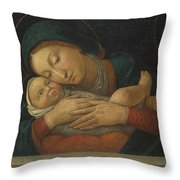 The Virgin And Child With Four Saints Throw Pillow