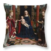 The Virgin And Child With Saints And Donor Throw Pillow