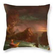 The Voyage Of Life - Manhood Throw Pillow